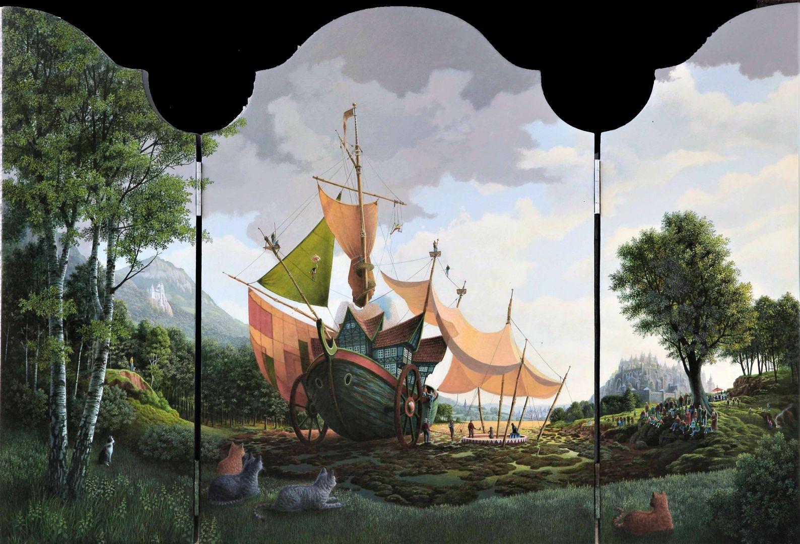 Con van Velsen - Circusboot - Drieluik