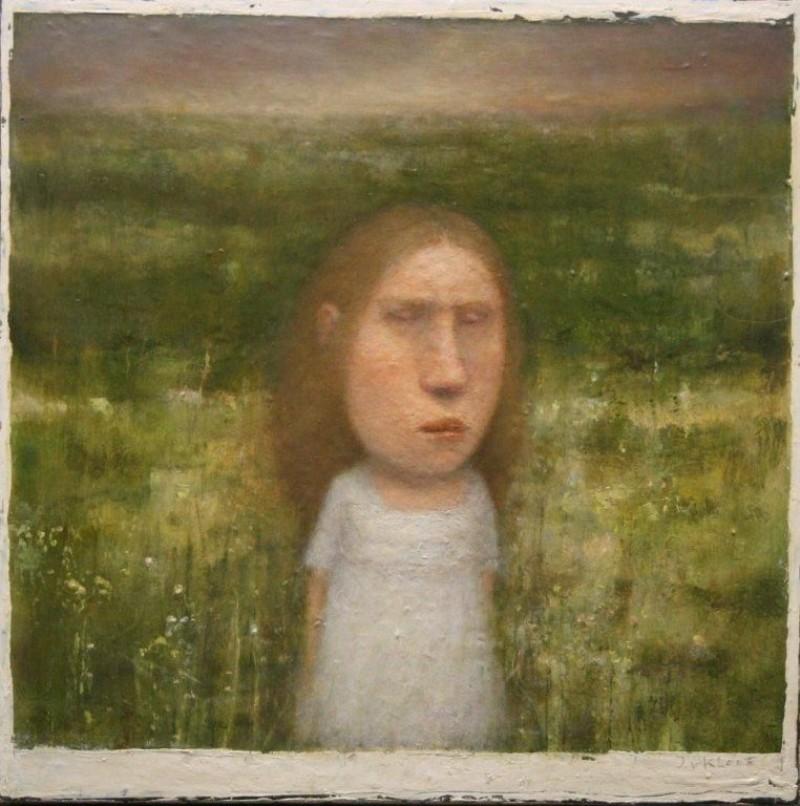 José van Kleef - Meisje in landschap