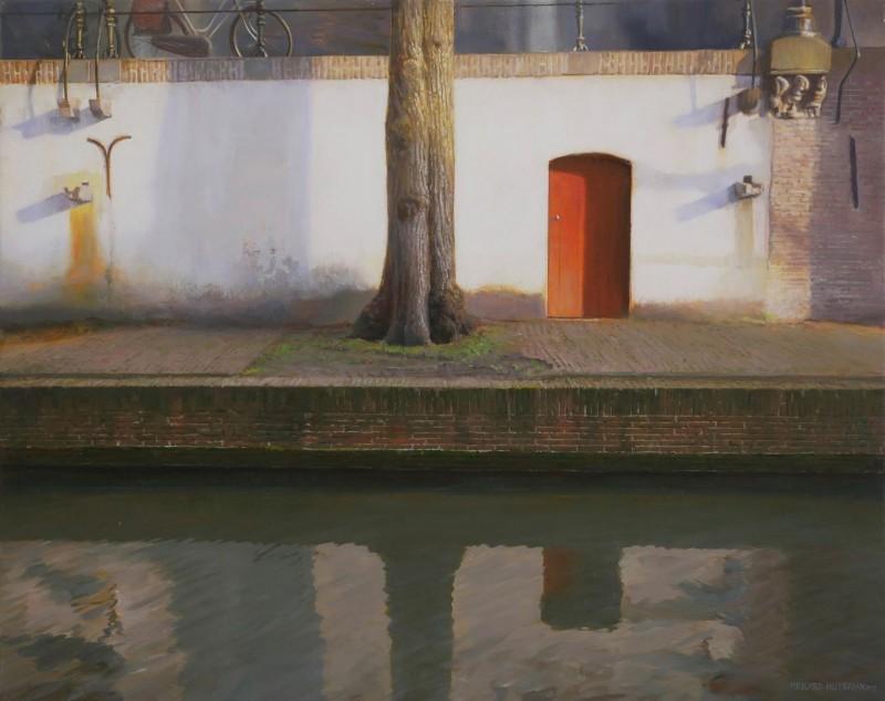Gerard Huysman - Kade, met rode deur, Utrecht