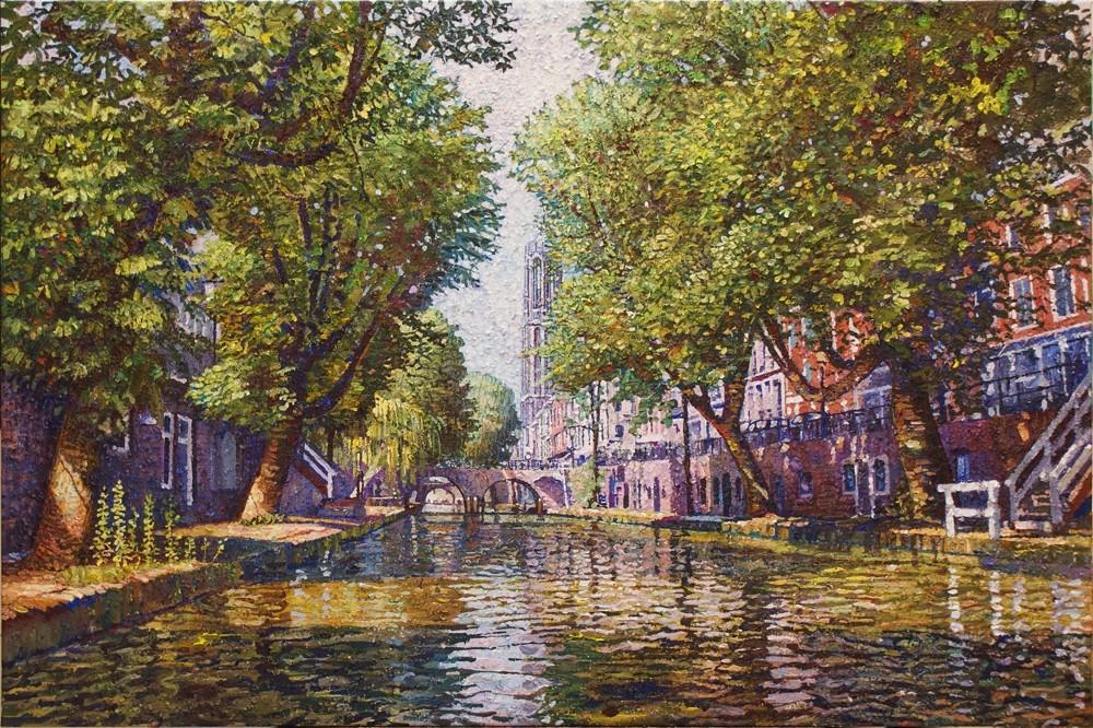 Willem van der Hofstede | Oudegracht met Hamburgerbrug en Domtoren