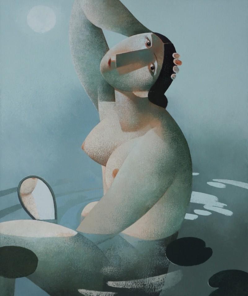 Peter Harskamp - Zittende vrouw met spiegel en waterlelies
