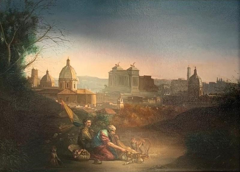 Giovanni Tommasi Ferroni - Panorama di Roma con Beduini