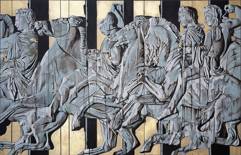 Paravent. Victory I: /The Timeless Heroes of the Parthenon'160 x 250 cm